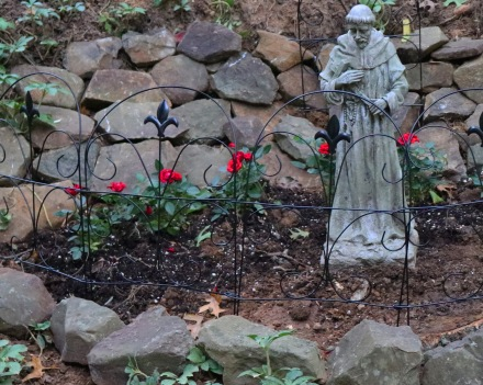 Miniature red rose and stone Gothic garden